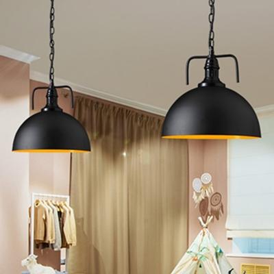 Industrial Pot Lid Ceiling Light Single Metal Hanging Pendant Light for Restaurant