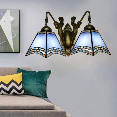 Pyramid Wall Hanging Light Mission Crafted Glass 1 Head Bronze Wall Sconce with Mermaid Backplate