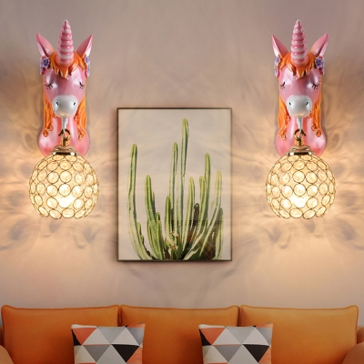 Crystal Hollowed-out Ball Wall Lamp Kids 1-Light Sconce Lighting with Unicorn Decor