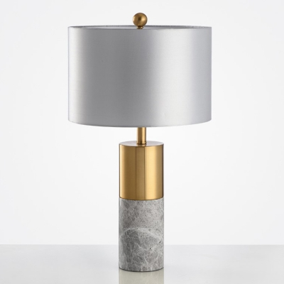 Cylindrical Marble Night Table Light Simplicity 1 Head Nightstand Lamp with Fabric Shade