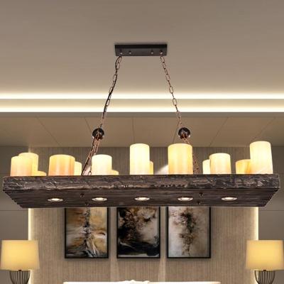 Geometric Wooden Ceiling Chandelier Industrial Restaurant Suspended Lighting Fixture