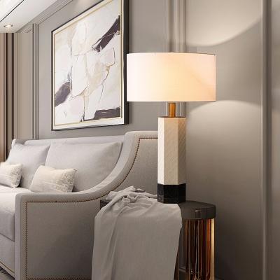 White Drum Shade Table Lamp Minimalist 1-Light Fabric Night Lighting with Hexagonal Column