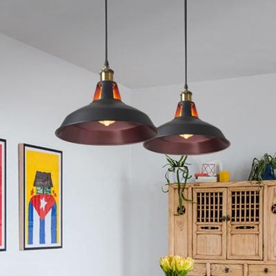1 Bulb Pendant Light Antique Pot Cover Metal Hanging Light Fixture for Restaurant