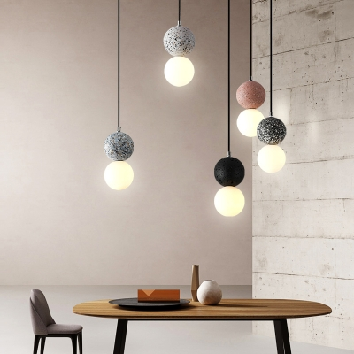 Gourd Shaped Terrazzo Ceiling Pendant Nordic 1-Bulb Suspension Light with Hand-Blown Glass Shade
