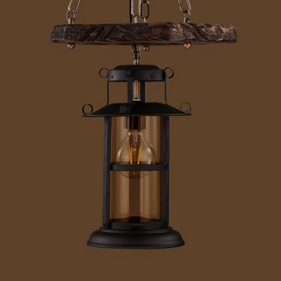 Hanging Chandelier Factory Lantern Clear Glass Ceiling Pendant Light in Distressed Wood