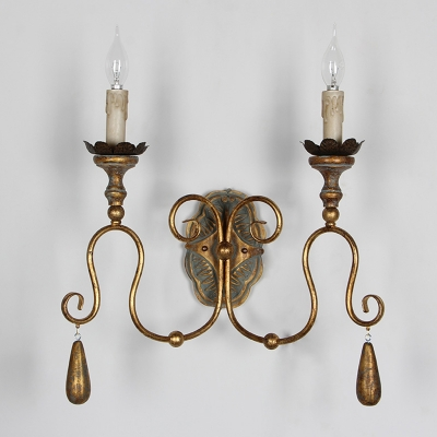 Antiqued Gold Candle Wall Lamp French Country Metal 2-Head Bedroom Sconce with Scrolling Arm