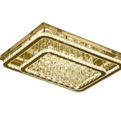 Crystal Framework Flush Mounted Light Contemporary Stainless Steel LED Ceiling Lamp