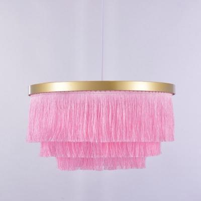 Single-Bulb Tassel Ceiling Light Rustic Gold Drum Shaped Living Room Hanging Lamp