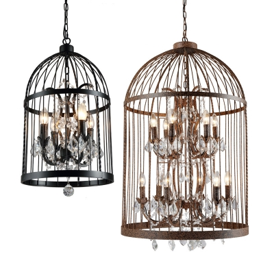 Crystal Draping Hanging Lamp Farmhouse Birdcage Shaped Dining Room Chandelier Light