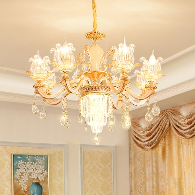 Crystal Weathered Zinc Ceiling Light Flower Shaped Antique Chandelier for Living Room