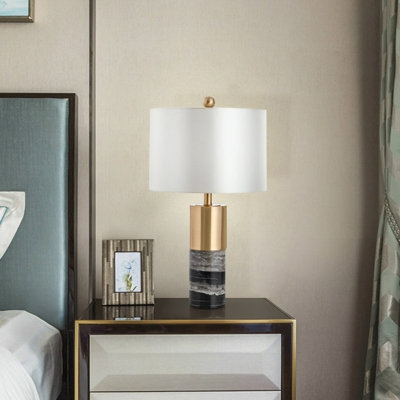 Postmodern Cylindrical Night Stand Light Fabric Single Bedroom Table Lamp in White with Marble Base