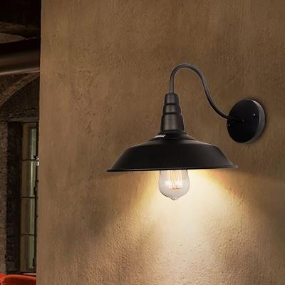Pot Cover Shade Metallic Wall Lighting Antique 1-Light Restaurant Wall Mounted Light