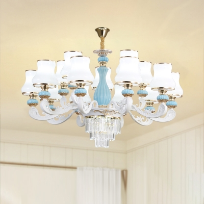 Blue Suspension Lighting Vintage Flared Milk Glass Chandelier with Tiered Tapered Crystal
