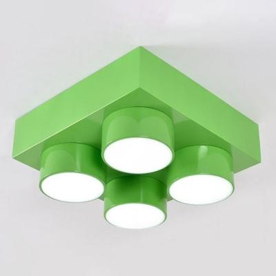 Building Block Playroom Ceiling Light Metallic Childrens LED Flush Mount Fixture