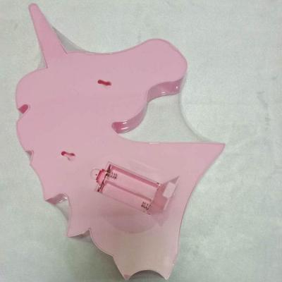 Cartoon Animal LED Night Light Plastic Girls Bedroom Battery Wall Lighting in Pink