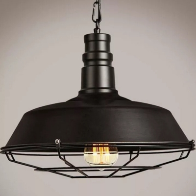 Simplicity Pot Lid Hanging Lamp Single-Bulb Metal Lighting Pendant for Restaurant