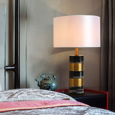 Splicing Cylinder Night Lamp Postmodern Marble 1-Light Hotel Table Lighting with White Fabric Shade