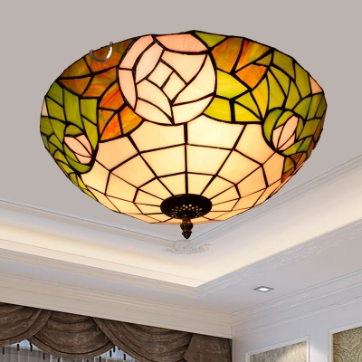 Tiffany Hemisphere Flushmount Ceiling Lamp Handcrafted Stained Glass Flush-Mount Light for Bedroom