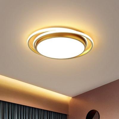 Minimalist Circle LED Ceiling Lamp Acrylic Bedroom Flush Mounted Lighting Fixture