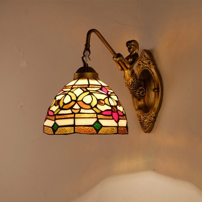 Baroque Bell Wall Lamp Single Stained Art Glass Sconce Lighting in Gold for Living Room