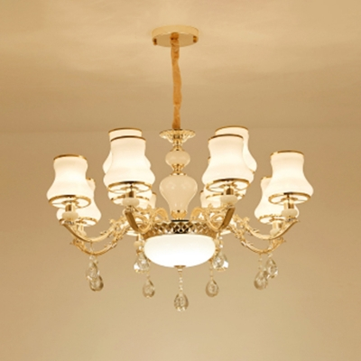 Curve Living Room Suspension Light Retro White Glass Gold Chandelier with K9 Crystal Deco