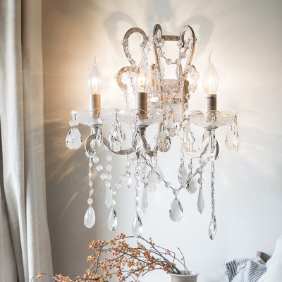 Metal Candle Wall Lamp Country 3-Bulb Dining Room Sconce Fixture with Crystal Drape and Scroll Arm