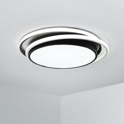 Ring-Shaped LED Ceiling Light Fixture Modern Metallic Bedroom Flush Mounted Lamp