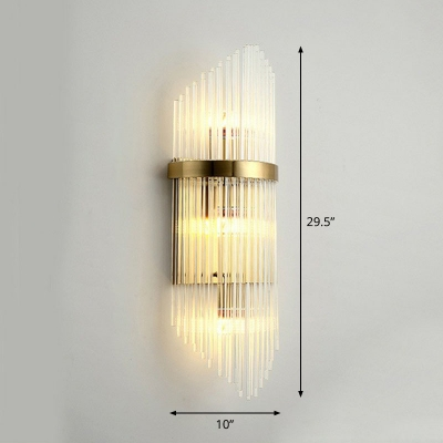 Gold Geometric Wall Mount Lamp Postmodern Clear Glass Rod Sconce Lighting for Dining Room