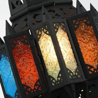 Moroccan Lantern Pendant Light Fixture 1-Light Handcrafted Art Glass Hanging Light in Black