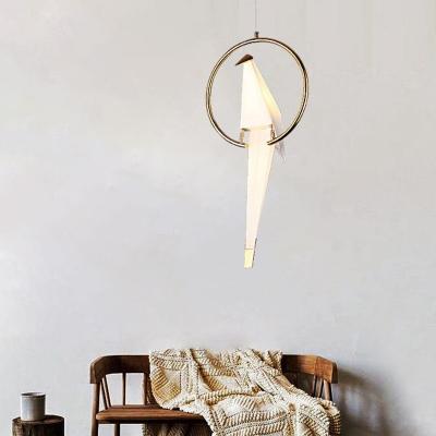Origami Crane Acrylic Ceiling Lighting Artistic 1 Head Gold Hanging Pendant Light