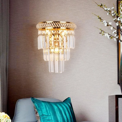 Postmodern Tiered Sconce Lighting Crystal Triangle Prism 3-Light Living Room Wall Lamp in Gold