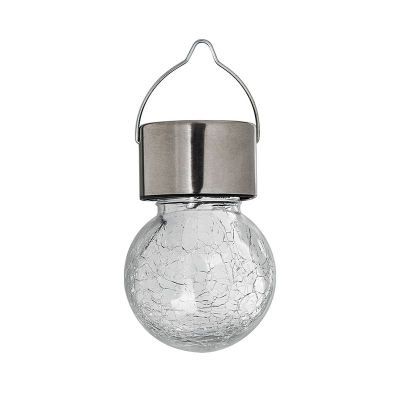Round Solar Pendant Light Contemporary Clear Crackle Glass Outdoor LED Suspension Light with Handle, 1 Pc