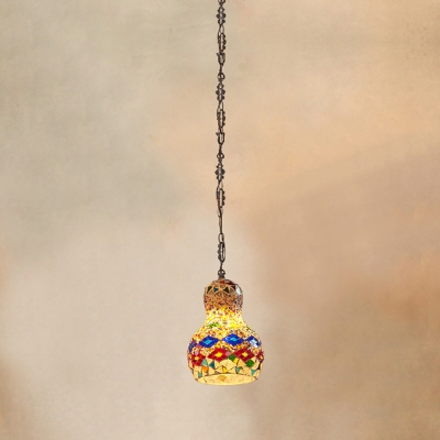 Stained Glass Gourd Shaped Pendant Lighting Turkish 1 Head Restaurant Ceiling Light Fixture