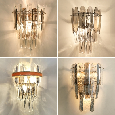 Tiered K9 Crystal Wall Lamp Postmodern 3-Light Wall Mounted Light for Living Room