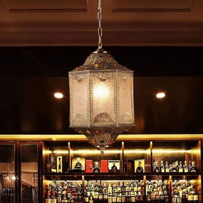 3-Light Water Glass Ceiling Pendant Moroccan Bronze Lantern Restaurant Suspended Lighting Fixture