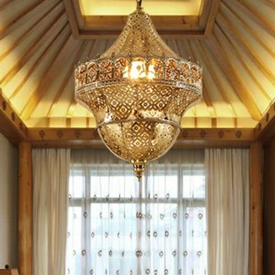 Antiqued Gold Single Ceiling Pendant Turkish Metal Broderie Lantern Hanging Light Fixture