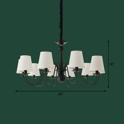 Chandelier Lighting Vintage Restaurant Pendant Light Kit with Tapered Fabric Shade in Black