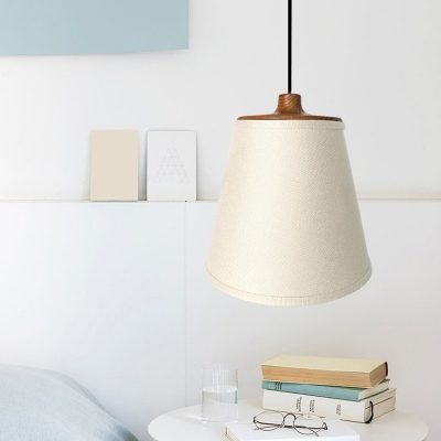 White Conical Pendant Lighting Rustic Fabric 1 Head Dining Room Ceiling Light with Wood Cap