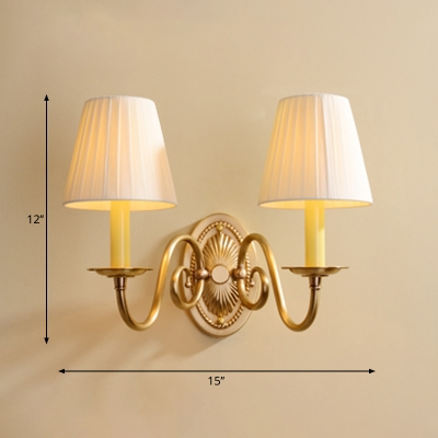 Conical Fabric Wall Lamp Fixture Traditional Living Room Wall Sconce Lighting in Brass