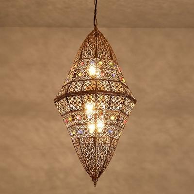Hand-Carved Hallway Ceiling Hang Light Traditional Metal 6 Lights Grey Suspension Pendant