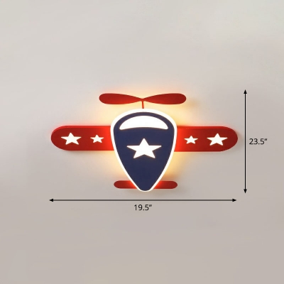Metal Plane Ceiling Lamp Cartoon Red and Blue LED Flush-Mount Light with Star Pattern
