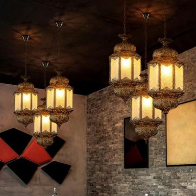 Water Glass Lantern Ceiling Suspension Lamp Turkish Style 3 Bulbs Restaurant Pendant Light in Bronze