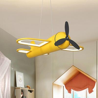 Childrens Plane LED Ceiling Lighting Metallic Kindergarten Chandelier Light Fixture