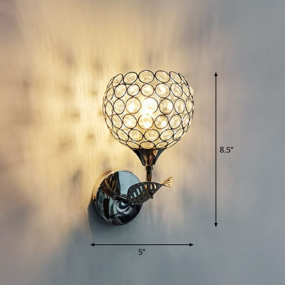 Hollowed-out Dome Wall Light Contemporary Crystal 1 Head Wall Mounted Lamp for Corridor