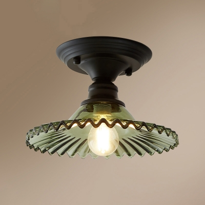 Retro Radial Wave Shade Ceiling Fixture 1 Head Glass Semi Flush Mount Lighting for Foyer