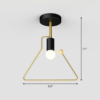 Single-Bulb Ceiling Flushmount Lamp Nordic Geometric Frame Iron Semi Flush Mount Lighting for Foyer