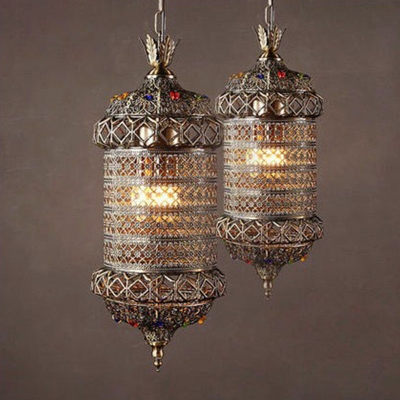 3 Lights Hanging Lamp Moroccan Cylindrical Hollow-out Metal Lantern Pendant in Bronze
