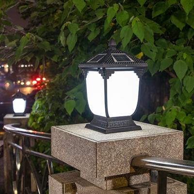House Shaped LED Post Light Minimalist Metal Black Solar Street Lighting for Garden