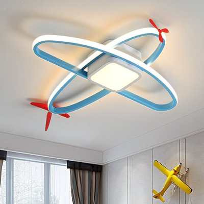 Minimalist Jet Shape Flush Mount Lighting Acrylic Boys Room LED Flush Ceiling Light in Blue