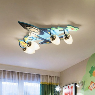 Plane Ceiling Mount Light Fixture Kids Wooden 4-Head Blue Flushmount Light for Nursery